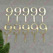 10 x Number 9 Birthday Acrylic Gold Mirror Cupcake Topper