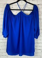 NWT 1 STATE Womens' Royal Blue Long Sleeve Blouse Top Shirt Size Large