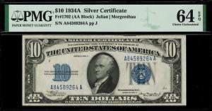 1934A $10 Silver Certificate FR-1702 - Graded PMG 64 EPQ