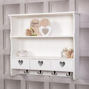 Large White Wall Shelf Unit With Hooks Drawers Heart Storage Kitchen Home Wood