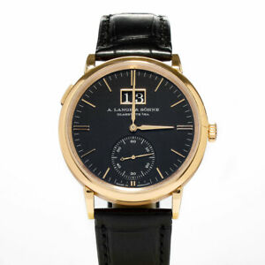 A. Lange & Sohne Rose Gold Saxonia Outsize Date Black Dial Watch 81.031 38.5mm