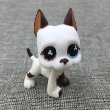 Littlest Pet Shop Toys White Brown Great Dane Dog LPS#577 Puppy Hasbro Kid Gift