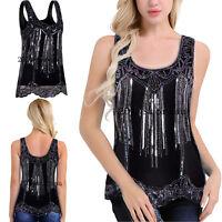 Vest Women's Shimmer Glam Sequin Bead Embellish Sparkle Loose Tank Top Vest Tops