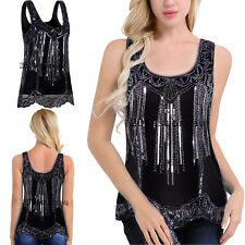 Vest Women's Shimmer Glam Sequin Bead Embellish Sparkle Loose Tank Top Vest Tops