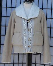 Coldwater Creek Faux Suede Native American Style Tan Jacket Size PS