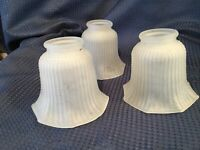 """3 Vintage Frosted Glass Globes Shades With Ribbed sides 2"""" Fitter 8 Sided"""