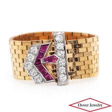 Vintage Diamond Ruby 14K Gold Platinum Buckle Woven Link Ring 8.7 Grams NR