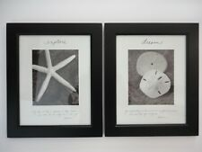 Set of 2 Thoreau Framed Pictures Stroll on beach, live life you imagined, 8x10