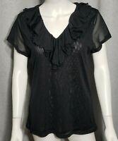 Lauren Ralph Lauren Womens Size XL Short Sleeve VNeck Ruffles Black Sheer Shirt