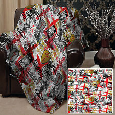 """58 x 58"""" Soft Fleece Blanket Cover St George England Design Bed Sofa Chair"""