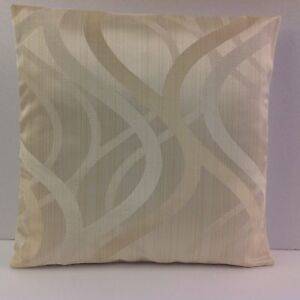 CUSHION COVERS NEW CREAM SATEEN WOVEN WAVES DESIGN EMBROIDERED PATTERN