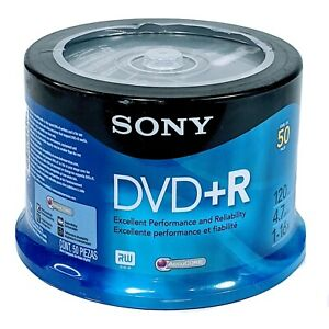 Sony DVD+R 50-Pack Spindle Blank Media 4.7GB - 120 min - 16x Accucore Sealed New