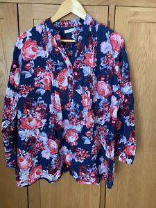 Damart Womens Blouse Size 20 Floral Multicolour Cotton Blend Pleats  Casual Top