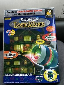 Star Shower Laser Magic Laser Light Show 4 Christmas & 2 Halloween Images NEW!