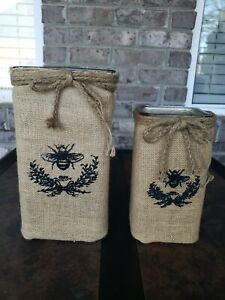 Coordinating Glass Vases/Candle Holders With Matching Burlap Covers (Set Of 2)