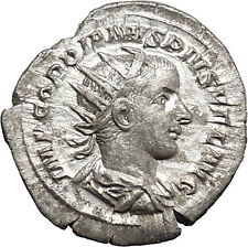 GORDIAN III  Ancient Silver Rare Roman Coin Apollo Father of Asclepius   i48755