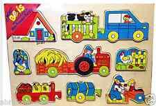 PUZZLE EN BOIS TRACTEUR 10 PIECES 30 X 22 CM 1ER AGE 10 MOIS