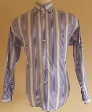 BUGATCHI Uomo LARGE Shirt MENS Multicolor STRIPED Blue CONTRAST Cuffs COTTON Sz*