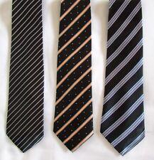 Nuevo 3 HOMBRE Corbatas Acabado a Mano Corbatas Seda Negro Mix Rayas 100% Seda