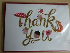 Papyrus Thank you card, die cut outs of a fox, flowers and gems