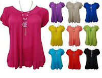 LADIES PLUS SIZE NECKLACE GYPSY TOPS WOMENS TUNIC BOHO TOPS 16 18/20 22/24 26/28