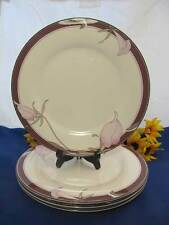 "Noritake New Decade PLUM ORCHID Dinner Plates 10 5/8"" Japan Set Of 4"