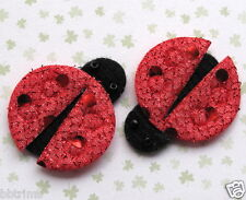 "40pc x 1.25"" RED Hand Made Padded Shiny Polka Dot Felt Ladybug Appliques ST531"