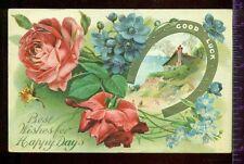 BEST WISHES for HAPPY DAYS Horseshoe Beautiful Roses Scene 1909 Vintage Postcard