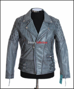 Outlaw Men's Stone Washed Grey Motorcycle Cruiser Cowhide Fashion Leather Jacket