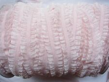 "10y Organza Double Ruffle 5/8"" Elastic trim for headband-Baby Pink L027"