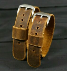 Brown Leather Watch Band, Distressed Single Pass fit Omega Gift for Him for Man