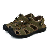 Men Leather Sandals Closed Toe Fisherman Beach Shoes Summer Hiking Sports Flats