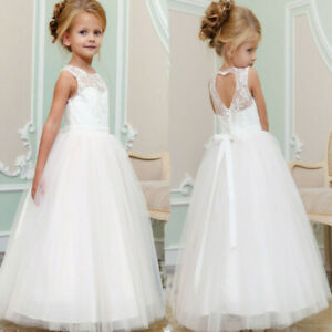 Formal Flower Girl Dress Lace Gown Wedding Bridesmaid Graduation Pageant for Kid