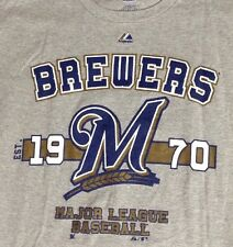 NEW MILWAUKEE BREWERS BASEBALL T SHIRT ADULT MEDIUM MAJESTIC MLB NWOT