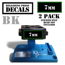 """7mm Reloading Press Decals Ammo Labels Sticker 2 Pack BLK/GRN 1.95"""" x .87"""""""