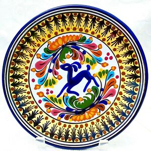 "Vintage Hand Painted Talavera Puebla Mexico Colorful Antelope Plate 8.5"" Signed"