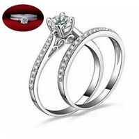 Rings Women 2pcs / Set Stainless Steel Ring  Engagement Wedding Gift Crystal