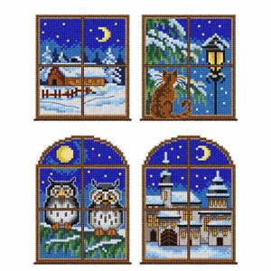 Winter Windows Counted Cross Stitch Christmas Tree Decorations Kit 4Designs