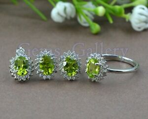 Peridot Natural 7X5 MM Oval Cut Gemstone 925 Solid Silver Jewelry Set For Women