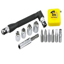 Rolson 15pc Screwdriver Tool Kit 1M tape measure Magnetic Bit Holder - 28423