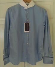 Ralph Lauren Collection Blue French Cuff Blouse, White Collar, NWT $898 Size 8