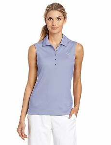 New Women's XL Puma Golf Dry Cell Solid Sleeveless Polo Persian Violet 562680 08