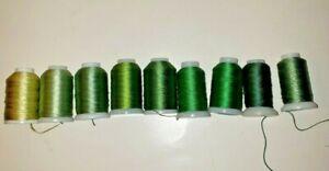 9 Spools Gudebrod Bros Champion Silk Thread Fly Fish Bead Green Shades E, F, FF