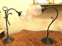 2 Vintage Swedish Lamps with 2 antique swedish Glass Shades