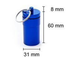 Pillendose blau 68 X 31 Mm Pillenbox Tablettendose Schlüsselanhänger Alu Dose
