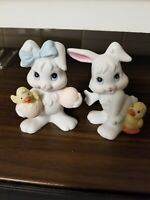 Easter Bunny Figurines Made in Sri Lanka Ceramic Bisque set of 2 Spring decor