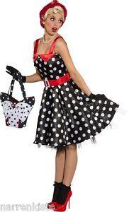 50er 70er Jahre Kleid Kostüm Rock n Roll Petticoat Damen Disco Rockabilly Polka