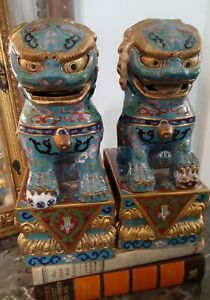 Antique 1920s Chinese Cloisonne Foo Dog Guardian Lions Pair