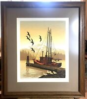 "Walton Butts Pacific NW Noted Artist Serigraph ""Morning Moorage"" Pencil Signed"
