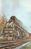 B&O Engine No. 5586 Train Watercolor Darel Hartle Indiana Vintage Postcard A01